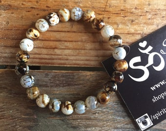 Custom for Donna | Round Cappuccino Cracked Agate | 8 mm Beads | Spiritual Junkies | Yoga + Meditation | Stackable Mala Bracelet