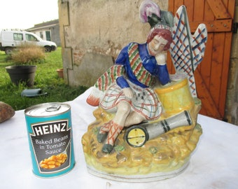 """Antique 19th C Staffordshire Ceramic Flatback Figure """"A Soldier's Dream"""" Hand Painted.  Read Description for French Postal Charges in Euros"""