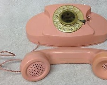 Vintage Two (2) 1960s REMCO EMPRESS Pink Battery Operated TOY Telephones w/ Wire