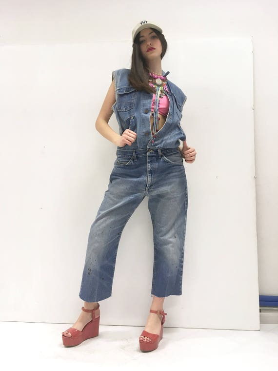 Women's Denim LOLA DARLING Jumpsuit Vintage Recovered Jeans Recycled Jumpsuit Lee Jeans + Wrangler Jacket Authentic Fading Limited Edition