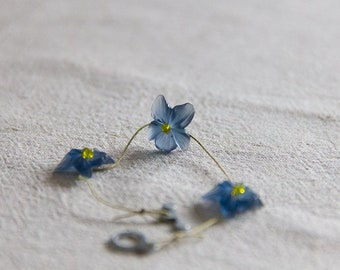 three blue pansies, nature fairy floral bracelet in vintage lucite, glass, cotton and metal