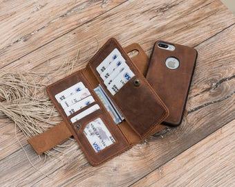 Magnetic detachable Leather Wallet Case for iphone 7 and ipjone 7 plus, Detachable Case for iphone 7 and 7 plus, Case #PAKHET PLUS MAGNET