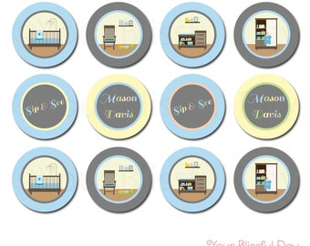PRINTABLE Personalized Sip & See Baby Boy Party Circles #210