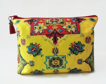 Gifts for her, Wash bag,Turkish, kilim, persian travel bag, cosmetic bag, zip bag, make up bag.