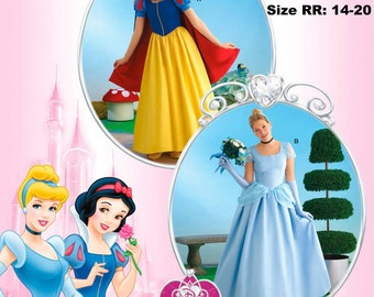 Official Licensed DISNEY Princess Snow White & Cinderella Cosplay Costume SEWING Pattern Simplicity #2813, Adult sizes 6-20