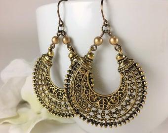 Antique Gold Hoop Earrings Large Filigree Hoop Tribal Earrings Boho Gypsy Ethnic Earrings Large Statement Earring Bohemian Jewelry Gold Loop