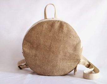 Handmade circle jute backpack