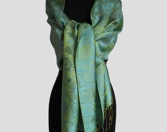Satin Silk Scarf with Contrasting Color/ Handmade/VanPhuc silk /Hadong Silk/Vietnamese silk /Holiday Gift idea/Christmas Gift/Wedding Gift