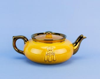 200 Year Anniversary Bost Tea Party Teapot Yellow Lustre Commemorative English 1970s Davison Newman