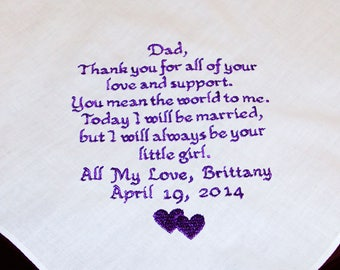Personalized Embroidered Handkerchief for Dad, Father of the Bride - You Mean The World To Me - Custom Men's Handkerchief - Hanky - Hanikes