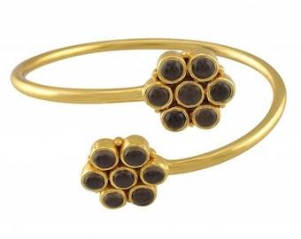 925 Sterling Silver Gold Plated Flower Smoky Bracelet