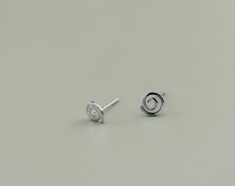 sterling silver swirl stud earrings, tiny swirl stud earrings, swirl earrings, polished swirl stud earrings, abstract earrings