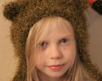 Fuzzy Teddy Bear Hat, Little Girls Teddy Bear Hat