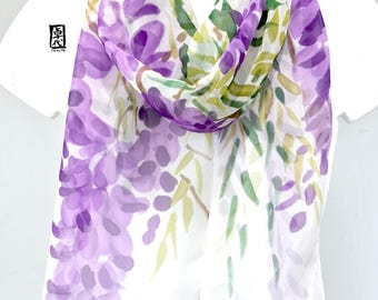Hand painted silk scarf, Japan Scarf, Chiffon Scarf, Purple Silk Scarf, Unqiue Gift, Purple Wisteria Scarf, Silk Takuyo, Made to order