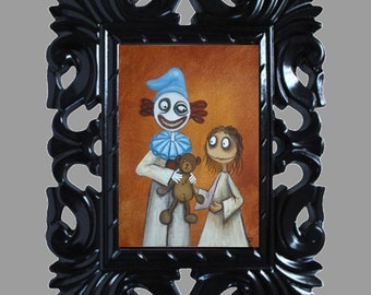 Dark Fantasy Lowbrow Art Print -- Art  Prints and Posters Giclee - Creepy Clown's Teddy