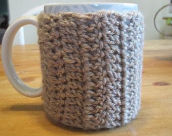 Set of two crocheted wrap-around mug cozies