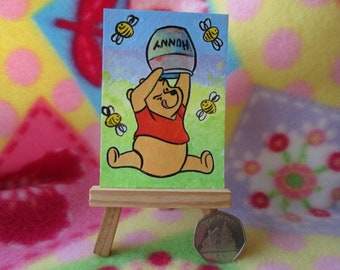 ACEO Original Miniature Painting Winnie the pooh bear honey bees Cartoon Art Comic Artist Trading Card