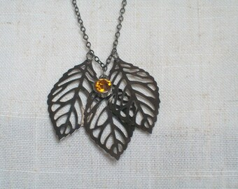 Rustic Leaves Necklace, Green Man, Rose Chapel, Autumn Leaves, Birthday, Anniversary, Bridal, Rain Forest,  Tree Herder, Maple Tree