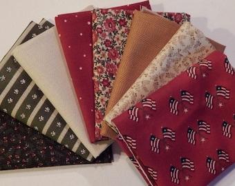 NEW Liberty Hill Quilt Fabric 100% Cotton Americana 8 Coordinating Fat Quarters  Red Bundle