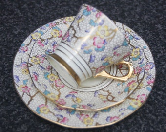 Gorgeous Tuscan China Plant 1930s Art Deco Trio Cup Saucer & plate