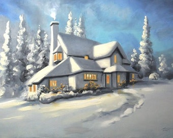 Cottage winter landscape 24x36 oils on canvas painting by RUSTY RUST / M-300