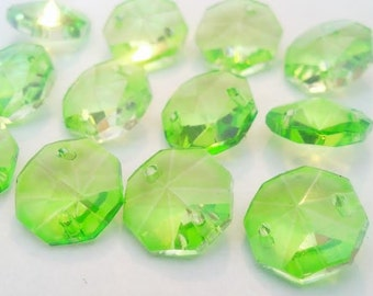 50 Spring Green Chandelier Crystal Beads Shabby Cottage Chic Crystal Prisms 14mm Light Peridot Green