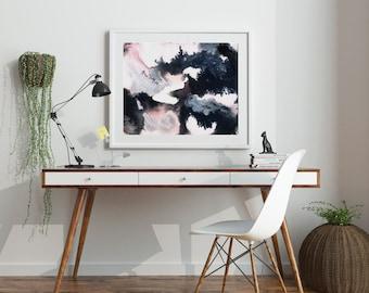 Peinture abstraite «Rigel» par Jules Tillman Fine Art Print Lustre peinture aquarelle abstraite moderne blanc doux rose argent noir minimal