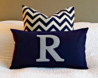 Modern Monogrammed Lumbar Pillow Cover - Solid Navy with Soft Grey Letter