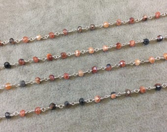 Silver Plated Copper Rosary Chain with Faceted 3-4mm Rondelle Shaped Mystic Coated Peach/Gray Carnelian Beads - Sold by the Foot (CH149-SV)