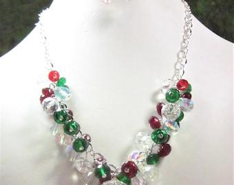 Holiday Crystal Necklace Set - Party, Choker, Bib, Necklace,  Christmas,Holida, SRAJD,  OOAK