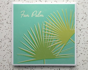 Fan Palm Houseplant Tile Coaster