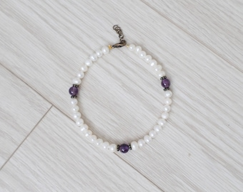 white fresh water pearls and amythest bracelet. anklet - layering - silver color - simple - dainty - minimalist jewelry - delicate - choker