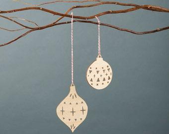 Wooden Holiday Christmas Ball Ornaments- Lasercut Birch (set of 2)