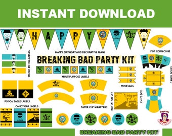 BREAKING BAD Party Kit Printable in English. Instant download! Breaking Bad Birthday Decoration, Breaking Bad Birthday Banner downloable kit