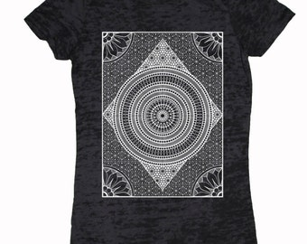 Women's MERIDIANS T-Shirt Psychedelic Sacred Geometry Pattern Tee