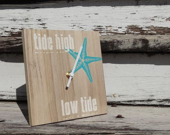 Desktop Tide Clock  -  Beach Chic  -  Starfish - SILENT (non-ticking movement)