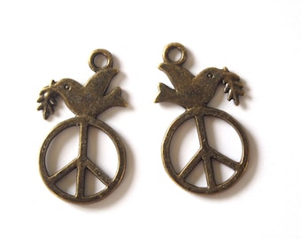 2 charms Peace & Love Dove of peace metal color bronze 28x16mm