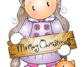 Digital (Digi) Merry Christmas Chloe  Stamp. Makes Cute Christmas Cards