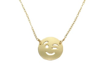 Emoji Necklace, Wink Emoji Necklace