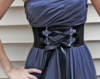 Steampunk Corset Lace up Belt Satin D-ring Trim and Ribbon