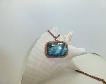 Large Blue Laboradite Pendant