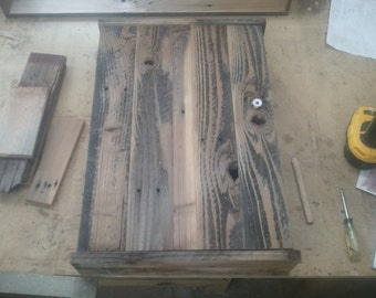 barnwood medicine cabinet hand planned/linseed oil