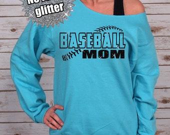 GLITTER Baseball Mom Off Shoulder Raw Edge Sweatshirt for Women, Baseball Mom Shirt, Basbeall Tee, Baseball Shirt (562MR Aqua)