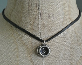 Typewriter Number 2 Necklace, Authentic Typewriter Number Key, On Deerskin Leather, A fun Great Gift,Numbers 2-9 and A-Z By UPcycled Works!!