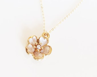 Pearly Salmon Beige Sakura Necklace - Gold Filled Chain - Cherry Blossom Necklace - Gold Flower Necklace - Sakura Jewelry - Pink Necklace