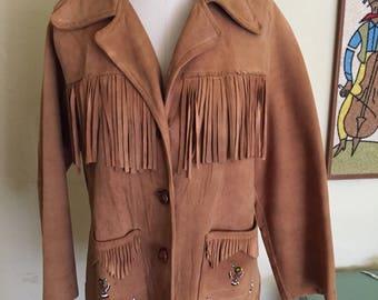 1950s  Pioneer Wear Buckskin  fringe Jacket with bead work size L