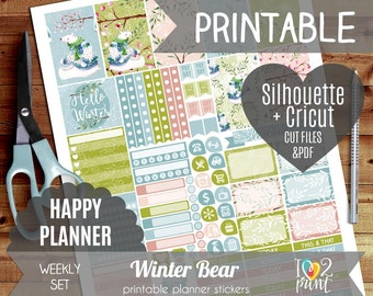 Winter Bear Weekly Printable Planner Stickers, Happy Planner Stickers, Weekly Stickers, Christmas Stickers, Mambi Stickers - Cut files