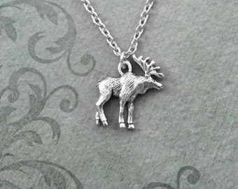 Moose Necklace VERY SMALL Silver Moose Charm Necklace Moose Jewelry Hunting Gift Camping Gift Moose Pendant Necklace Hunting Necklace Hunter