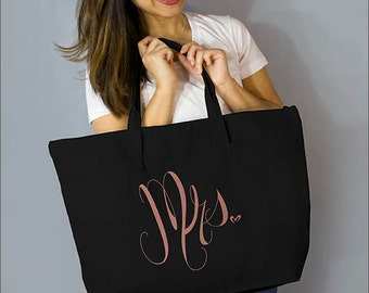 "Copper Mrs. Large Zip Tote: 100% Black Natural Cotton Canvas 22""W x 15""L x 5""D with Interior Zippered Pocket and Bottom Gusset- Ellafly"