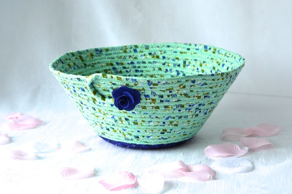 Green Fabric Basket, Mint and Purple Quilted Bowl, Handmade Soft Pottery Basket, Decorative Coiled Art Bowl, Napkin Holder Basket